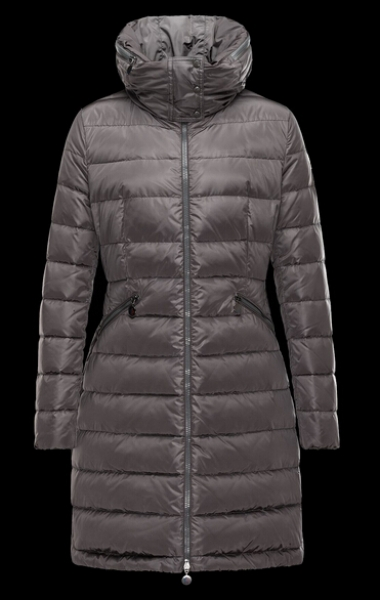 Moncler Coat Women Long Hooded Down Jacket Gray