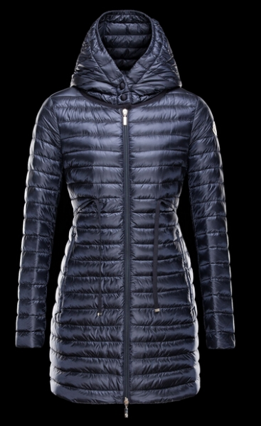 Moncler Coats BARBEL Hooded Down Jacket Long Woman Blue