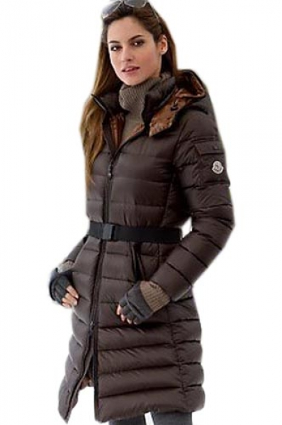 Moncler Coats Long Mokacine Hooded Women Parka Brown