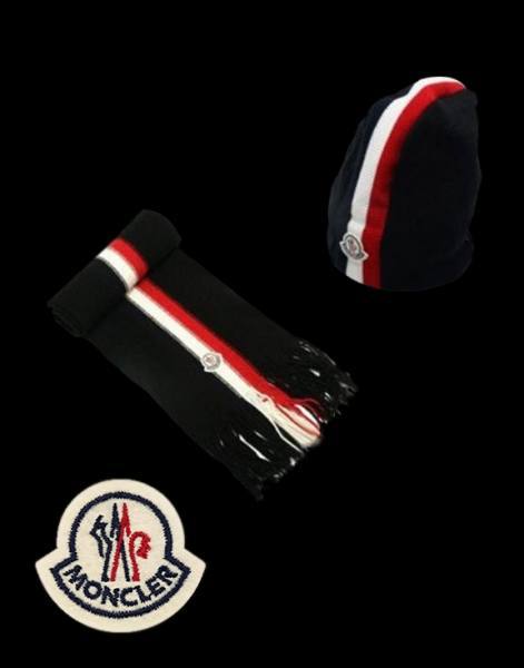 Moncler Cotton Black Scarf & Cap