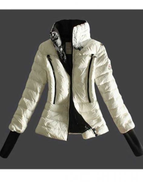 Moncler Design Down Womens Jackets Long Sleeve Zip White