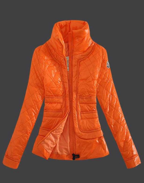 Moncler Design Women Down Jacket Stand Collar Orange