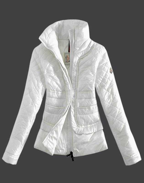 Moncler Design Women Down Jacket Stand Collar White
