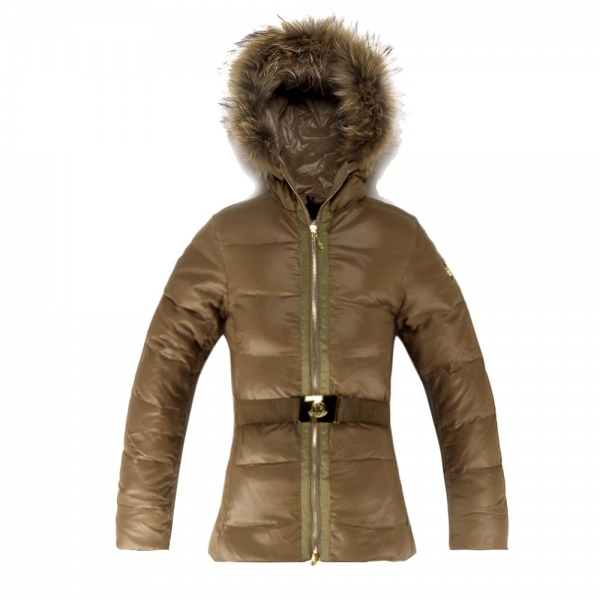 Moncler Donna Angers Belted Gold Coat Women