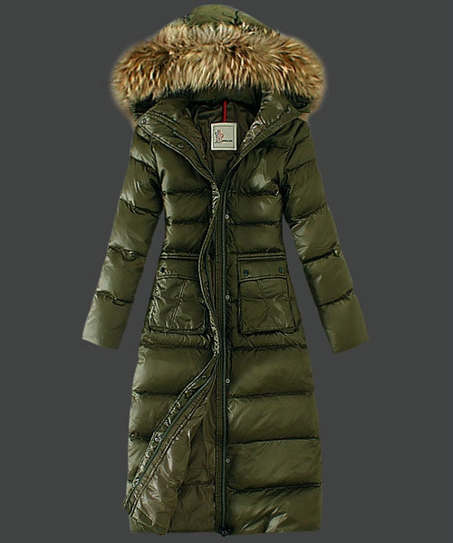 Moncler Down Coat Featured Women Slim Windproof Army G