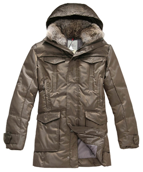 Moncler Down Coat Men Mid Length With Hood Coffee