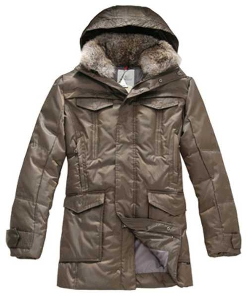 Moncler Down Coat Mens Mid Length With Hood Coffee