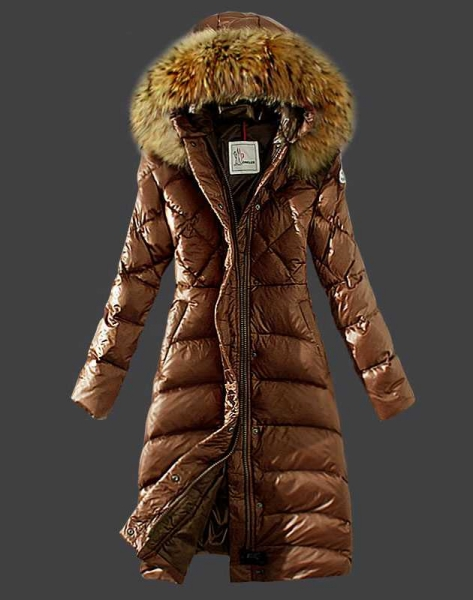Moncler Down Coat Women Hooded Windproof Coffee