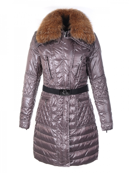 Moncler Down Coat Women With Belt Long Coffee