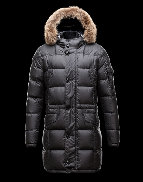 Moncler Down Coats For Men Black With Simple Mock Collar