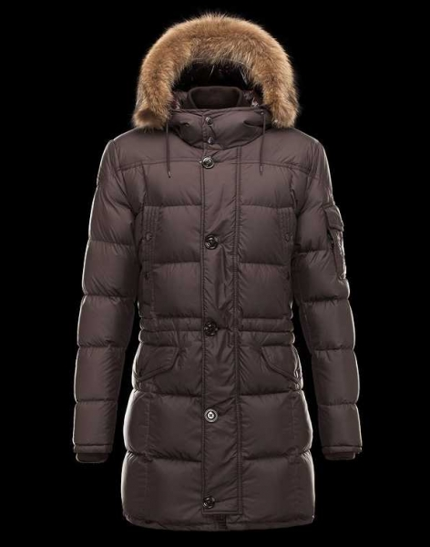 Moncler Down Coats For Men Coffee With Simple Mock Collar