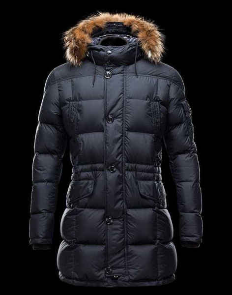 Moncler Down Coats For Men Dark Blue With Simple Mock Collar