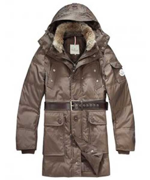 Moncler Down Coats Mens Mid Length Hooded Coffee