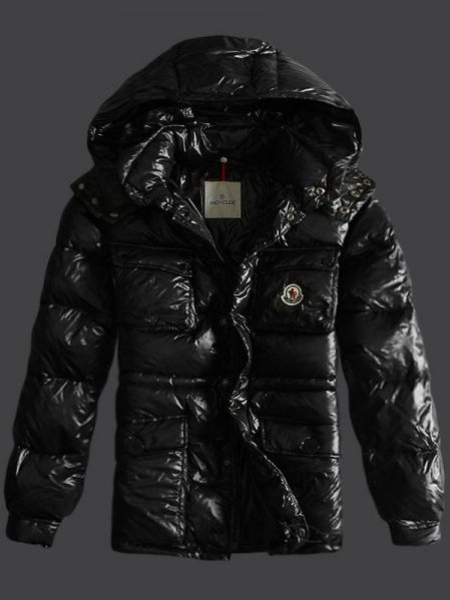 Moncler Down Jacket Men Leather Hoody Black
