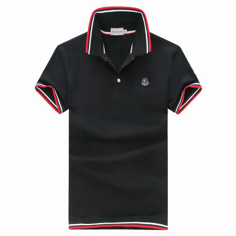2018 Moncler New Italy Silk Cotton Limited Polo Classic Blue LOGO Black