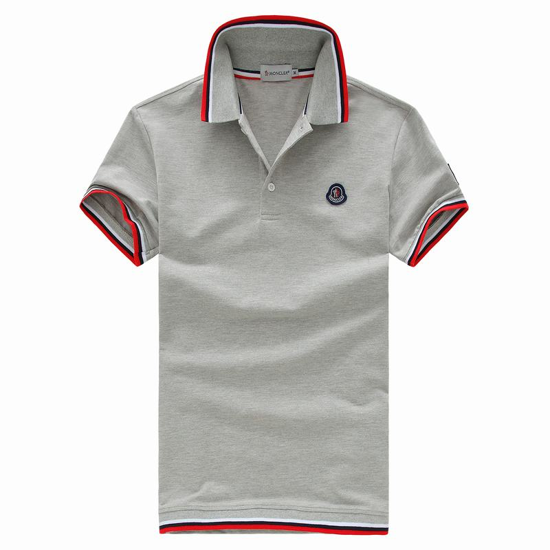 2018 Moncler New Italy Silk Cotton Limited Polo Classic Blue LOGO Grey