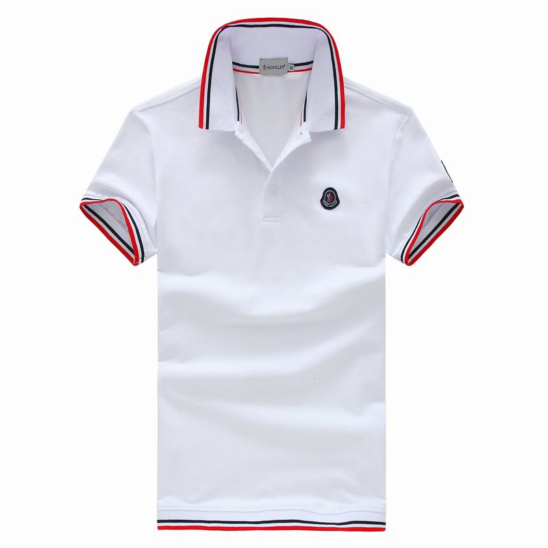 2018 Moncler New Italy Silk Cotton Limited Polo Classic Blue LOGO White