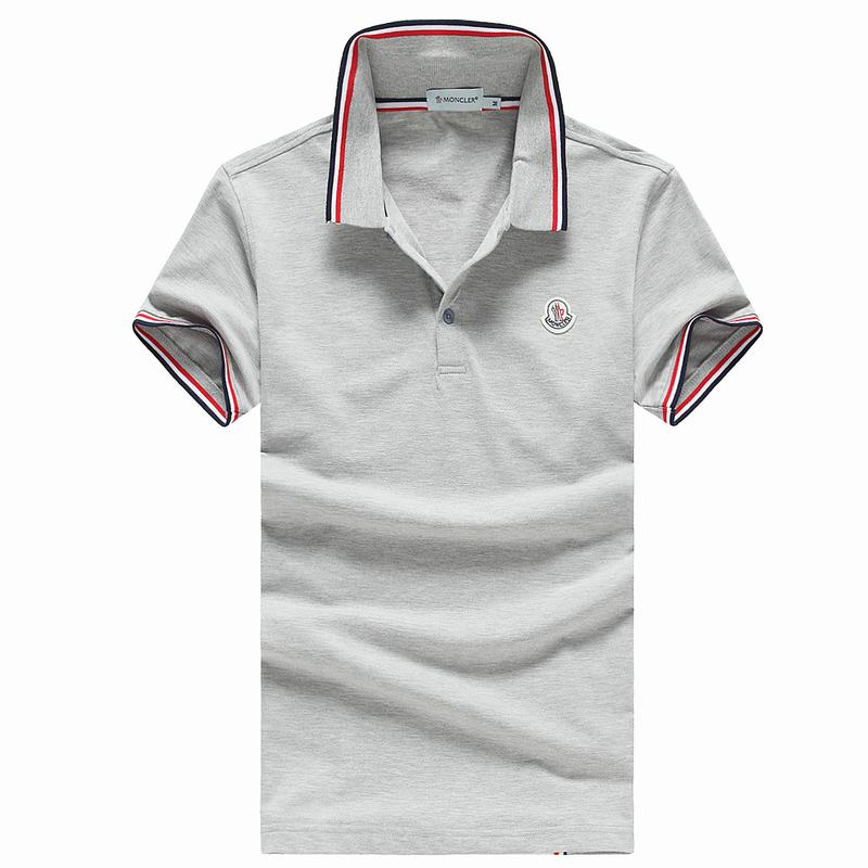 2018 Moncler New Italy Silk Cotton Limited Polo Classic LOGO Grey