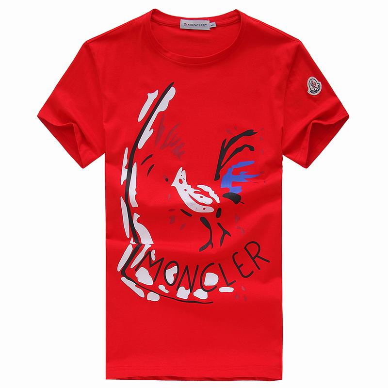 2018 Moncler New Italy Silk Cotton Limited T Shirt Abstract Rooster Red