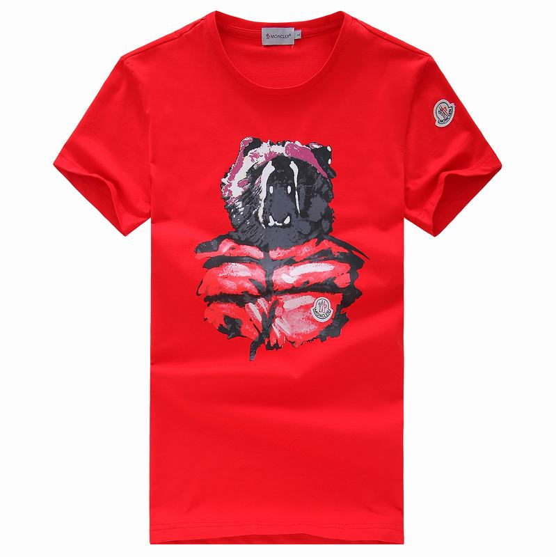 2018 Moncler New Italy Silk Cotton Limited T Shirt Angry Bear Red