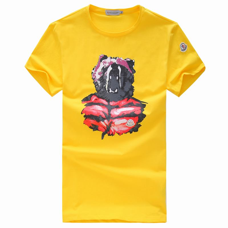 2018 Moncler New Italy Silk Cotton Limited T Shirt Angry Bear Yellow