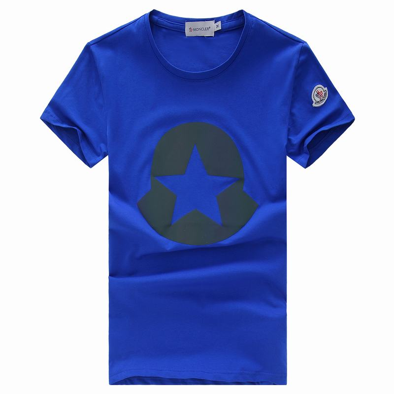 2018 Moncler New Italy Silk Cotton Limited T Shirt Big Five-pointed Star LOGO Blue