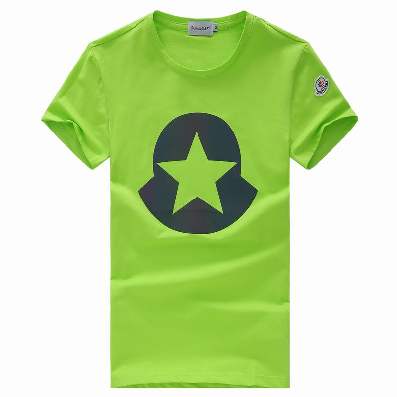 2018 Moncler New Italy Silk Cotton Limited T Shirt Big Five-pointed Star LOGO Green