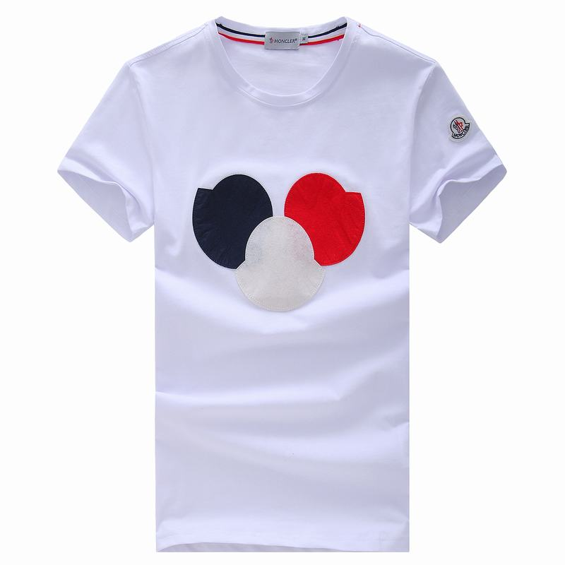 2018 Moncler New Italy Silk Cotton Limited T Shirt Big Tricolor LOGO White