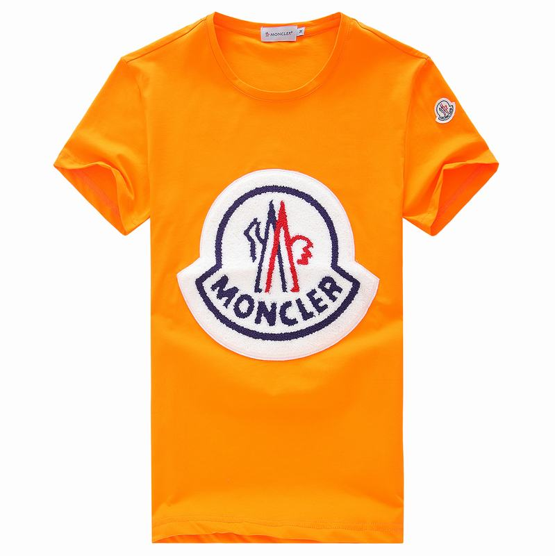 2018 Moncler New Italy Silk Cotton Limited T Shirt Big White LOGO Orange
