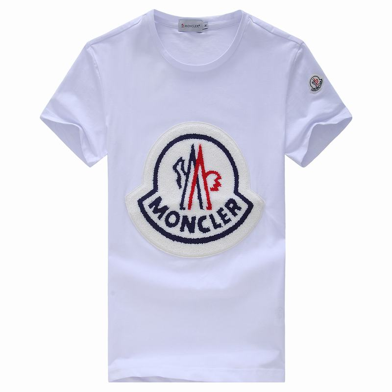 2018 Moncler New Italy Silk Cotton Limited T Shirt Big White LOGO White