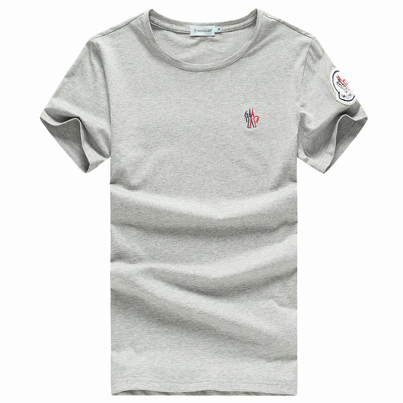 2018 Moncler New Italy Silk Cotton Limited T Shirt Cock LOGO Grey