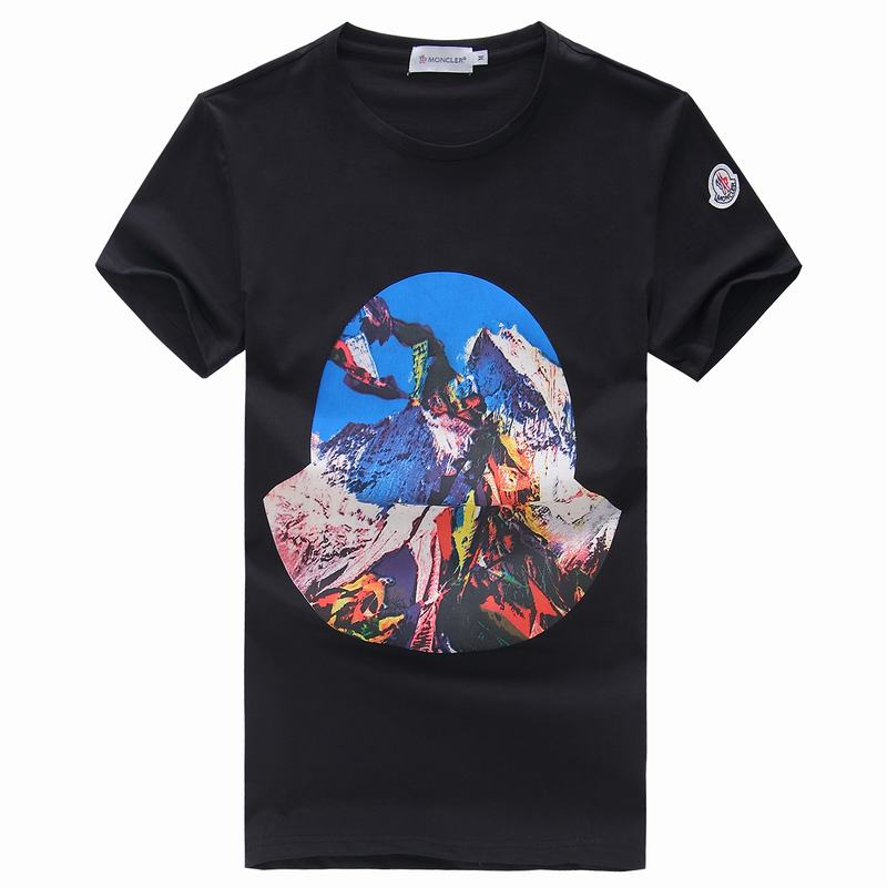 2018 Moncler New Italy Silk Cotton Limited T Shirt Everest Base Camp Black
