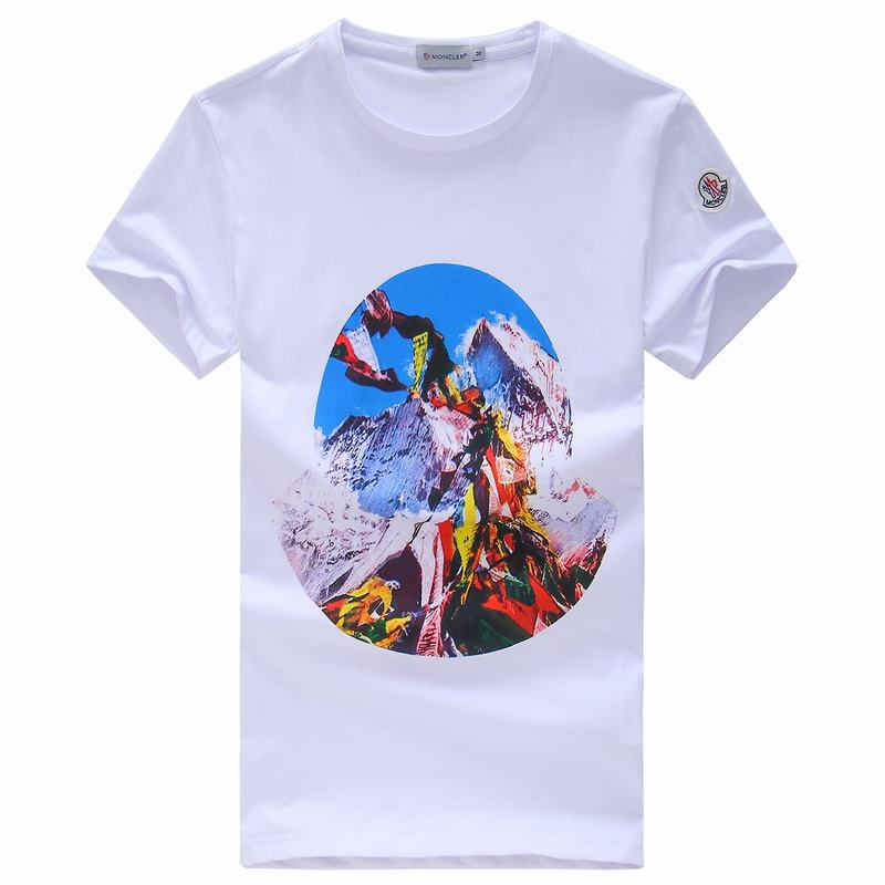 2018 Moncler New Italy Silk Cotton Limited T Shirt Everest Base Camp White