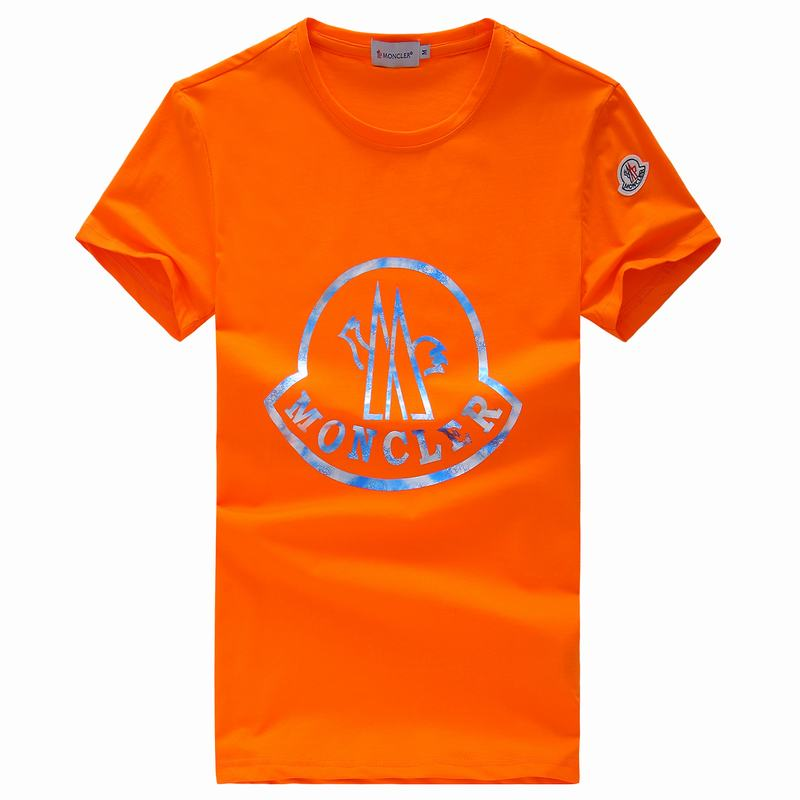 2018 Moncler New Italy Silk Cotton Limited T Shirt Sky Color LOGO Orange