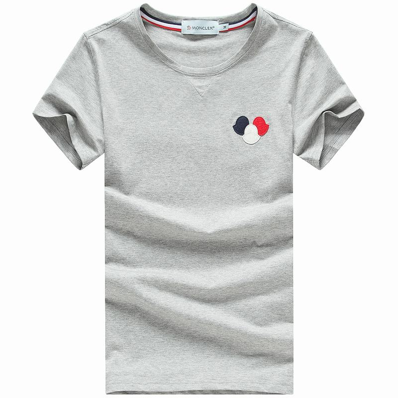 2018 Moncler New Italy Silk Cotton Limited T Shirt Tricolor LOGO Grey