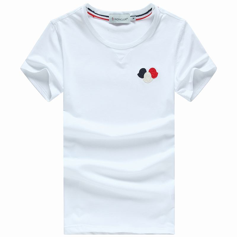 2018 Moncler New Italy Silk Cotton Limited T Shirt Tricolor LOGO White